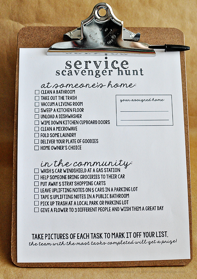 Prntable Service Scavenger Hunt from Allora Handmade via Thirty Handmade Days