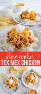 Slow Cooker Chicken Tex Mex - simple crockpot recipe that the whole family will love! via www.thirtyhandmadedays.com