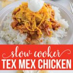 Slow Cooker Chicken Tex Mex - simple crockpot recipe that the whole family will love! via www.thirtyhandmadedays.com