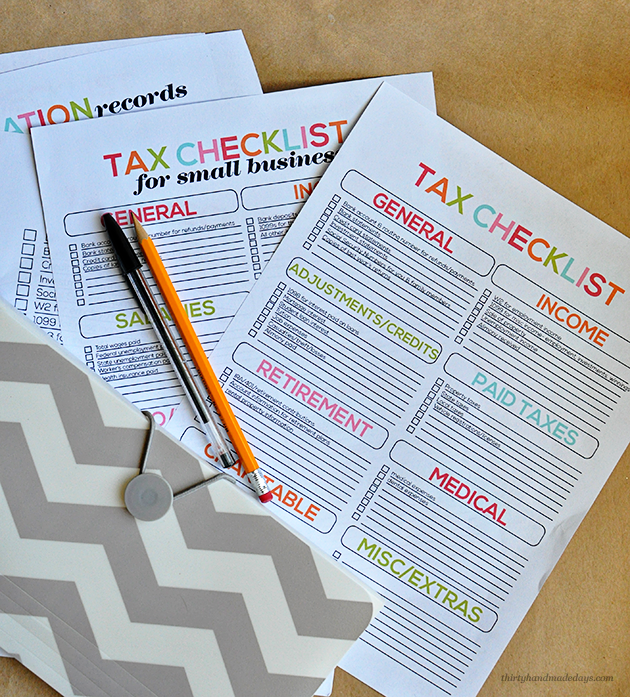 Tax Printables- easy checklists to help you prepare your taxes from  Thirty Handmade Days
