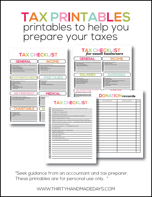 Tax Printables- easy checklists to help you prepare your taxes. Add these to your budget binder! from www.thirtyhandmadedays.com