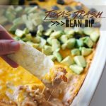 Texas Trash Bean Dip featured at the Party Bunch via Thirty Handmade Days