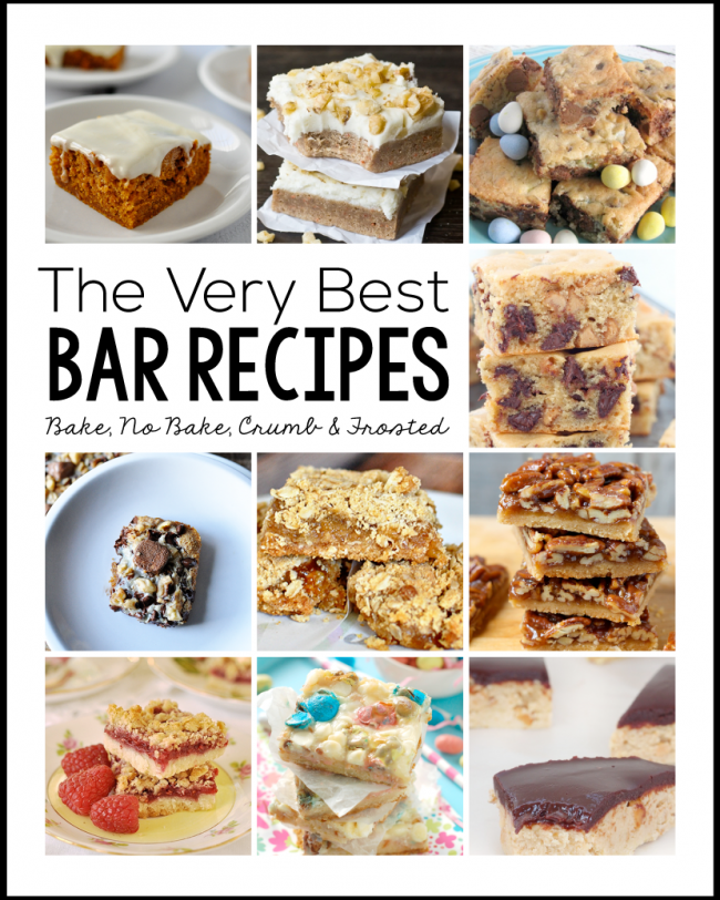 The Very Best Bar Recipes- a round up of frosted, crumb, bake and no bake recipes.  There's something for everyone!  | Thirty Handmade Days