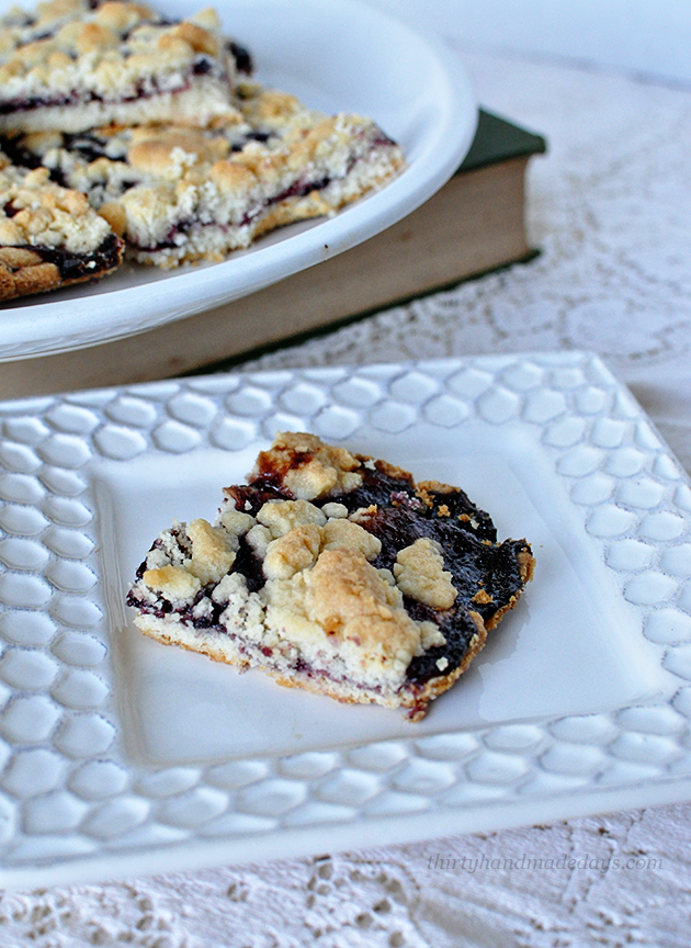 Super delicious and only 5 ingredients- these Blackberry Jam Bars are so simple to make from Thirty Handmade Days