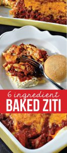 6 Ingredient Baked Ziti - the easiest main dish to make using only 6 ingredients from thirtyhandmadedays.com