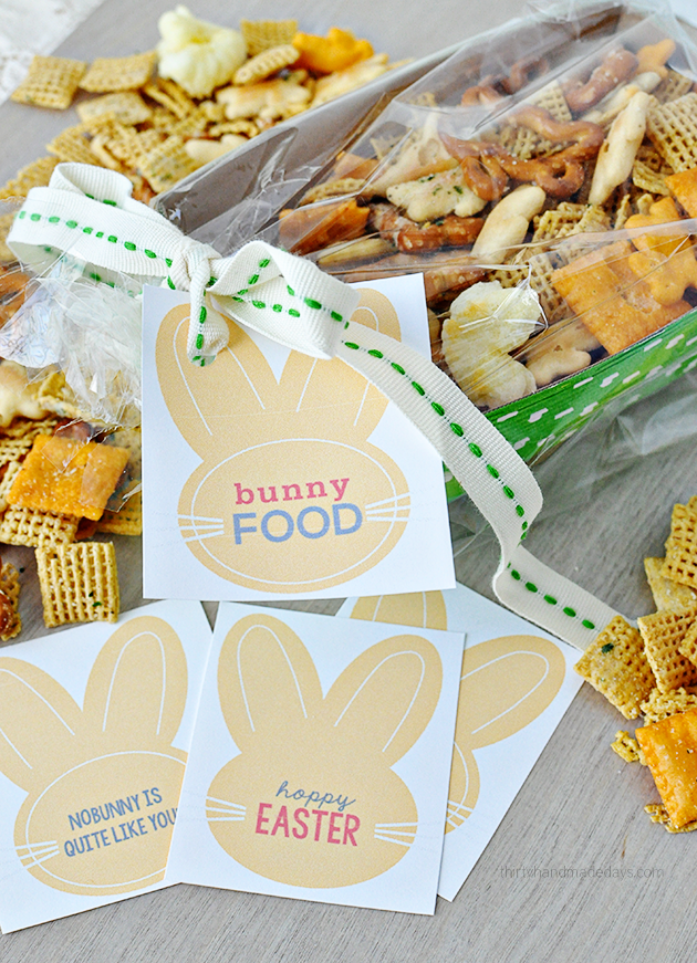 "Fun Easter gift idea- ""Bunny Food"" with cute printable tags. Thirty Handmade Days"