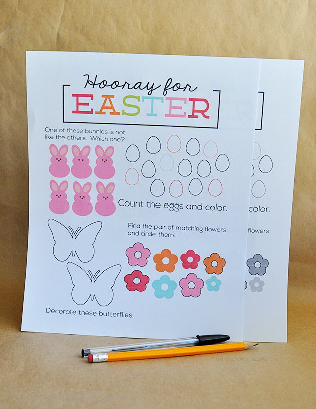 Printable Easter Worksheet  - print and have kids fill in! | Thirty Handmade Days