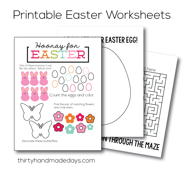 Printable Easter Worksheets - print and have kids fill in!