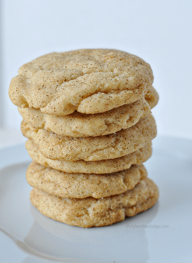 These are hands down the best Snickerdoodle cookies I've ever had. I could eat a dozen in one sitting. via www.thirtyhandmadedays.com