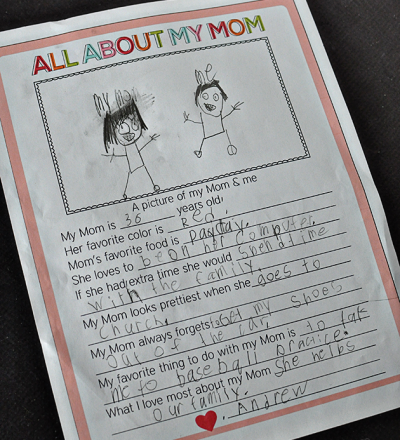 Fun fill in the blank Mother's Day Printable