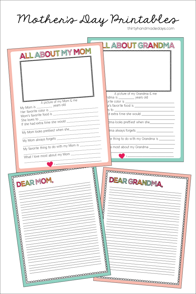 photo regarding All About My Grandma Printable named Printable Moms Working day Sheet