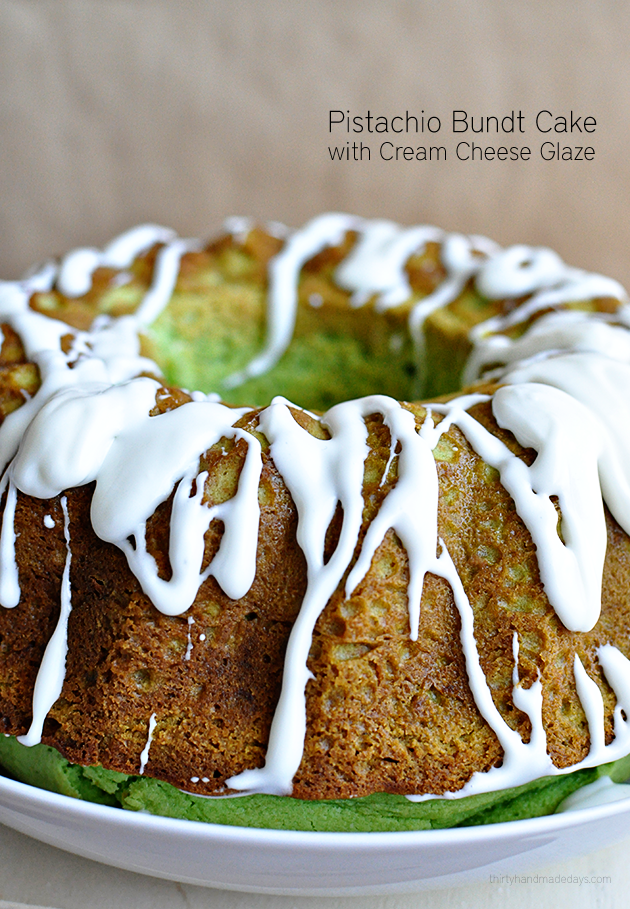 Light & delicious Pistachio Bundt Cake with Cream Cheese Glaze | Thirty Handmade Days