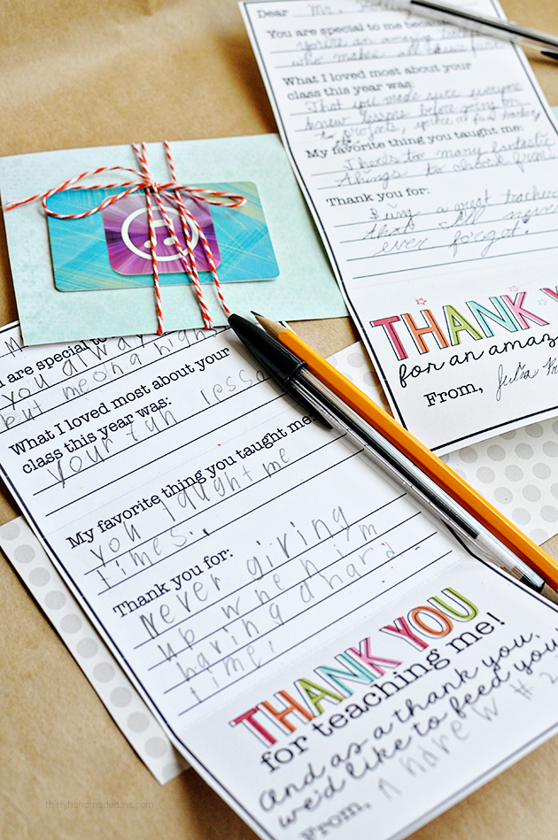 Cute Printable Teacher Gift Card - inside of card