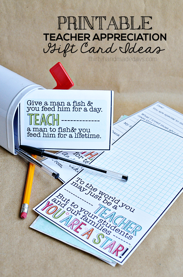 Printable Teacher Appreciation Gift Card Ideas - Thirty ...
