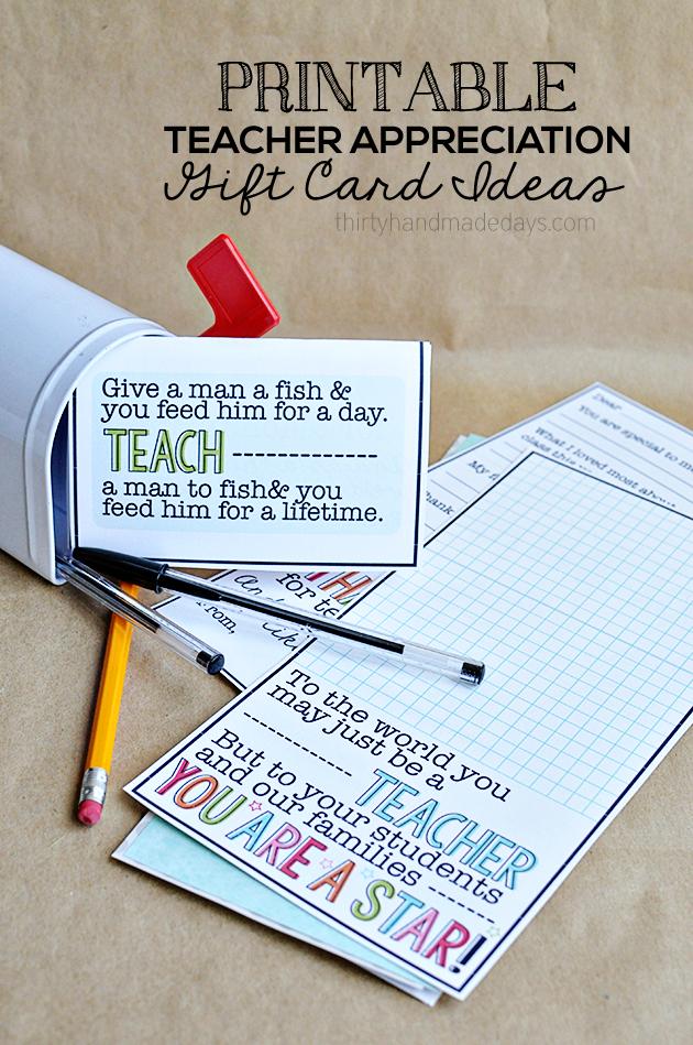 Cute Printable Teacher Appreciation Cards from www.thirtyhandmadedays.com