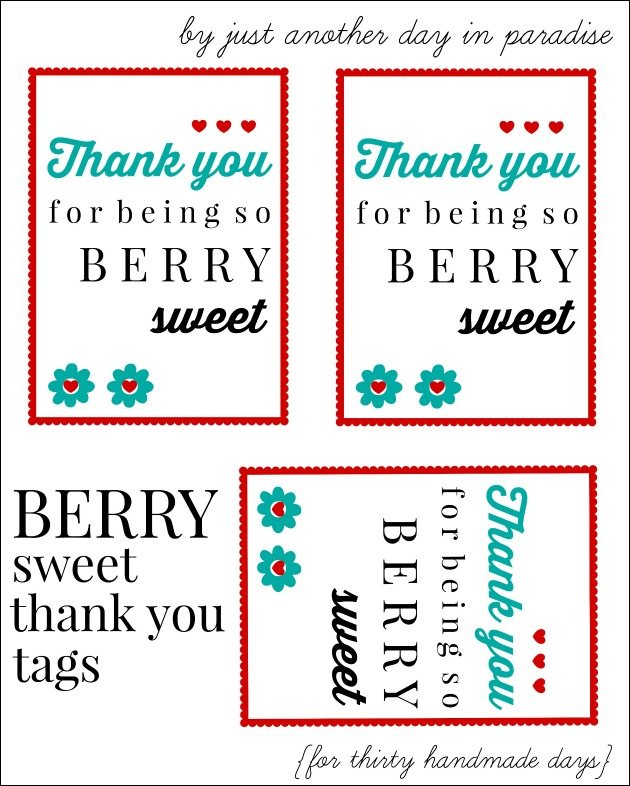 Berry Thank You Printable