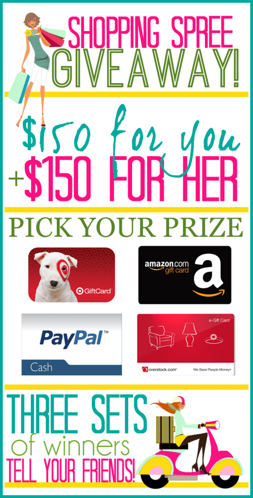 Shopping Spree Giveaway for you and her! 3 winners will be chosen