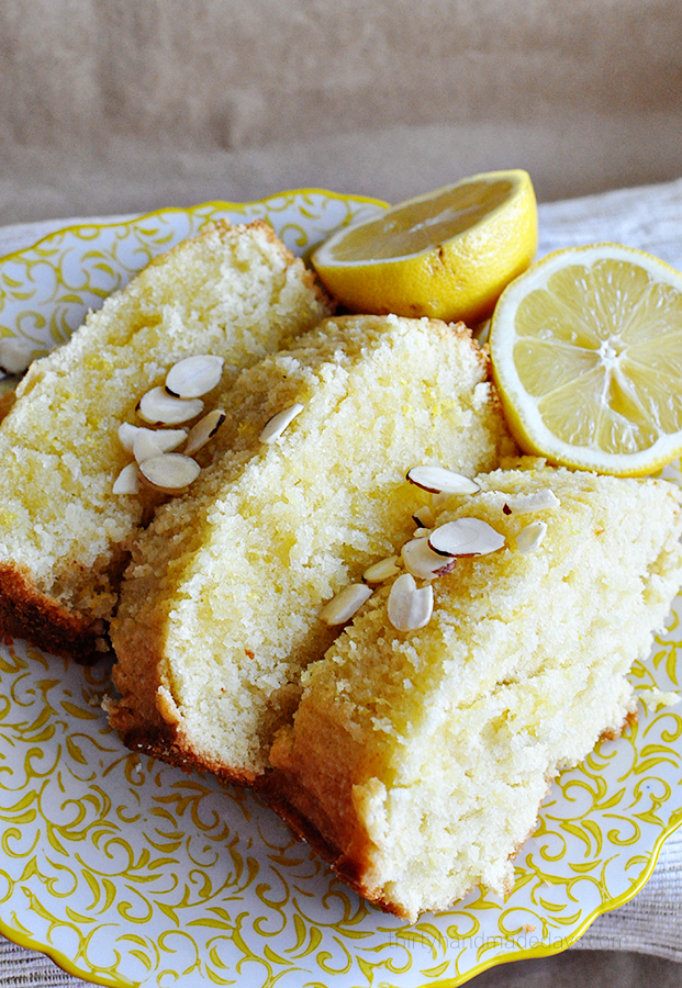 Glazed Lemon Bread with optional almond topping- amazing and simple, light and fluffy. Yum yum!