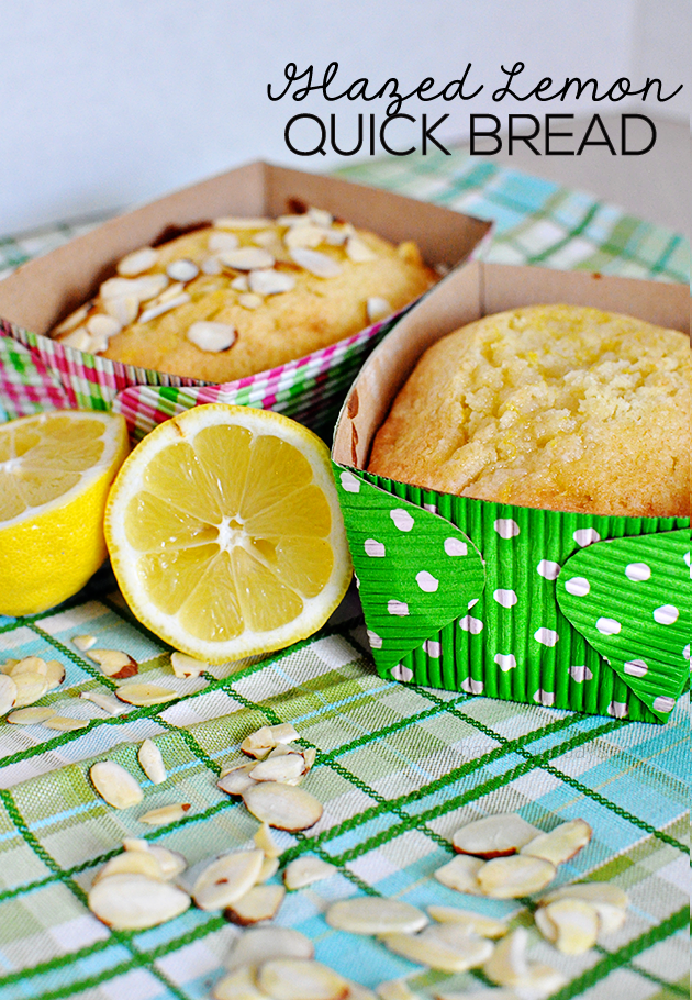 Glazed Lemon Bread with optional almond topping- amazing and simple, light and fluffy.  Yum! www.thirtyhandmadedays.com