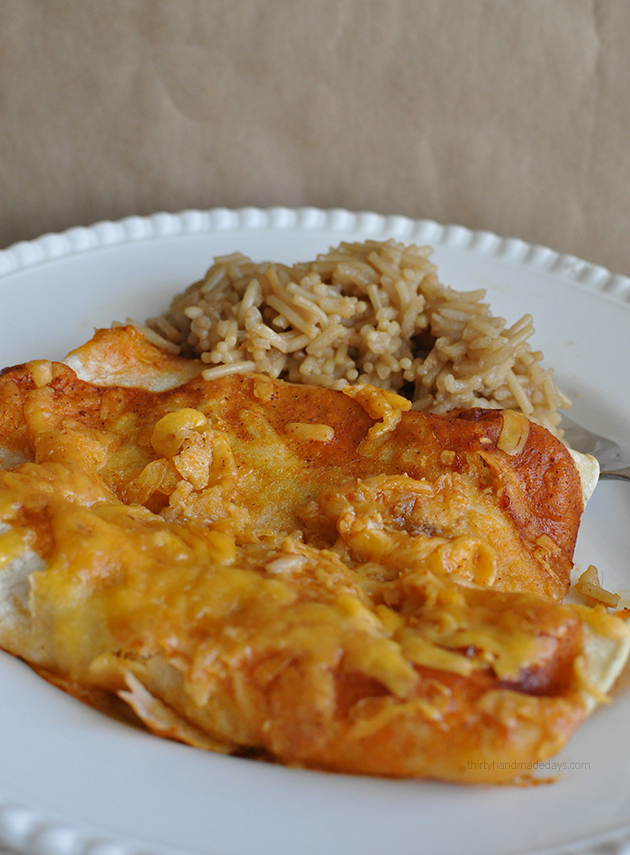 Easiest ever Beef Enchiladas - using only 4 ingredients from www.thirtyhandmadedays.com