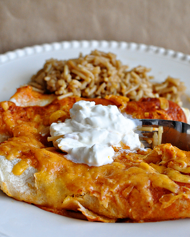 Easiest Cheater Beef Enchiladas - using only 4 ingredients www.thirtyhandmadedays.com