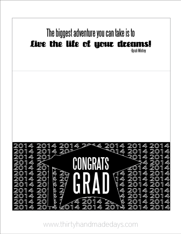 2014 Printable Graduation Money Card Holder- simply print out, fold, stuff with money and done!