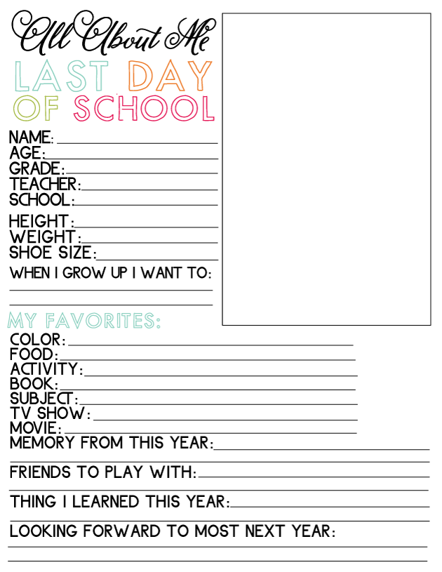 Printable Last Day of School Fill In - to go hand in hand with school binder from www.thirtyhandmadedays.com