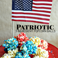 Patriotic Red, White and Blue 3 Ingredient Popcorn Balls