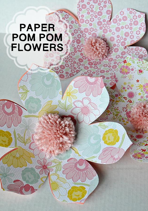 Simple DIY Paper Pom Pom Flowers- easy to make and so cute!