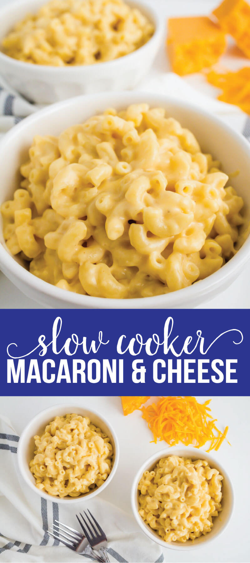 Slow Cooker Macaroni and Cheese Recipe - make this amazing mac and cheese recipe in the crockpot! via www.thirtyhandmadedays.com