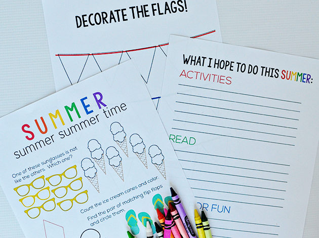Cute Summer Activity Worksheets- download from www.thirtyhandmadedays.com