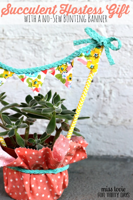 What an easy and inexpensive gift idea! -Succulent Hostess Gift with a No-Sew Bunting Banner- Miss Lovie for Thirty Days