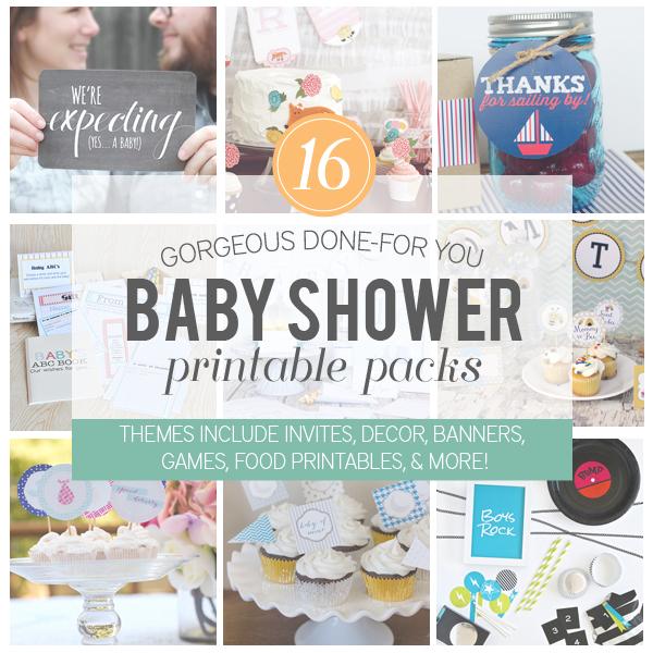 Super awesome Baby Shower Printable Pack via www.thirtyhandmadedays.com