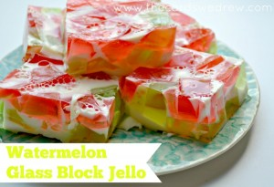 Watermelon Glass Block Jello from The Cards We Drew