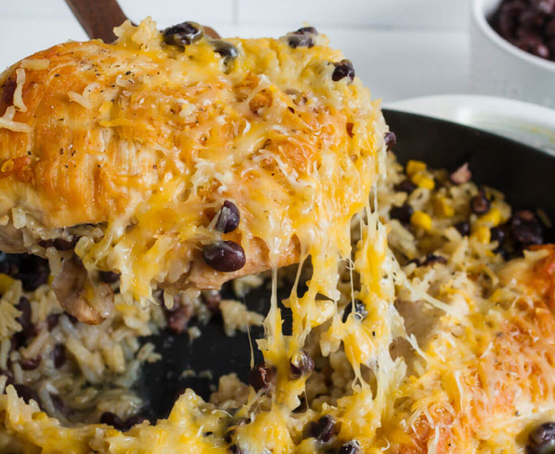 One Pan Chicken Fiesta Bake - a super easy, one pot meal that your whole family will love.