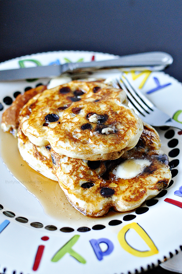 All Time Favorite Milk Chocolate Chip Pancakes - they are so good and fluffy! A must try recipe.  www.thirtyhandmadedays.com