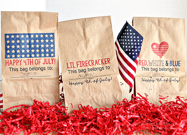 Printable Patriotic Lunch Bags - download and print on lunch bags for the 4th of July! Can be used for lunch/dinner or treats.
