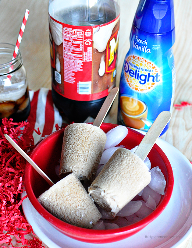 Using only 2 ingredients to make Root Beer Float Pops!  (and one isn't ice cream)