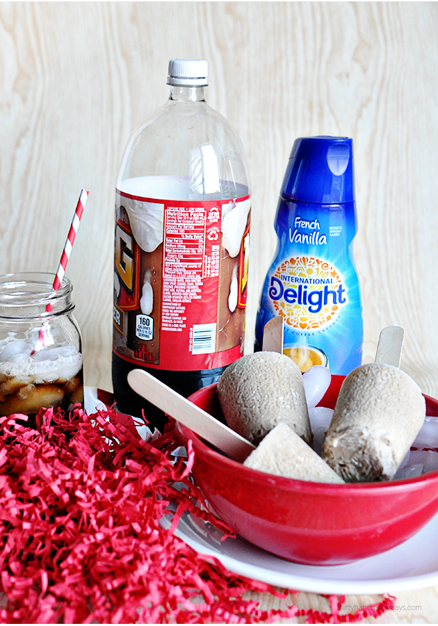 Using only 2 ingredients to make Root Beer Float Pops!