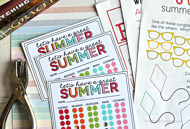 "Summer Activity Punch Cards to prevent ""Mom I'm bored"" all summer long! Print out and get punching.  from  www.thirtyhandmadedays.com"