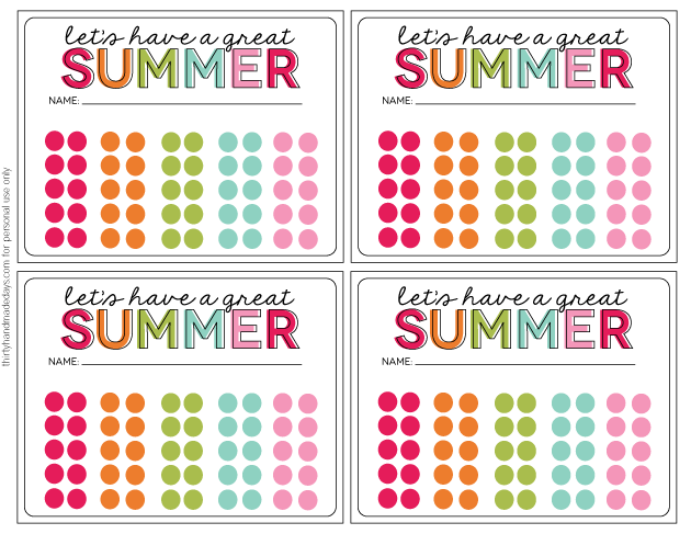 Download these simple Summer Activity Punch Cards - for personal use from www.thirtyhandmadedays.com