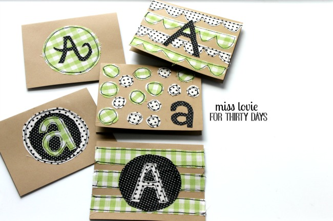 13 Sewn Monogram Thank You Notes