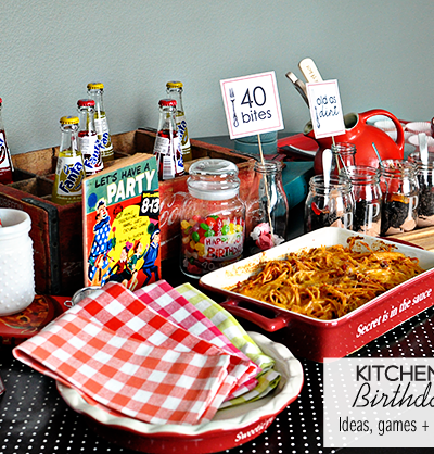40 Bites! Kitchen themed birthday party with ideas, games, and printables included.   Thirty Handmade Days