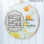 Shhhhh I'm reading - adorable embroidery hoop art from Flamingo Toes