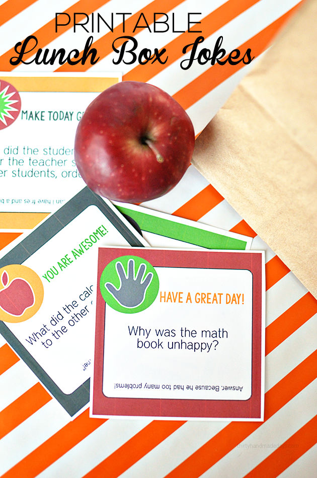 Printable Back to School Lunch Box Jokes  from Thirty Handmade Days