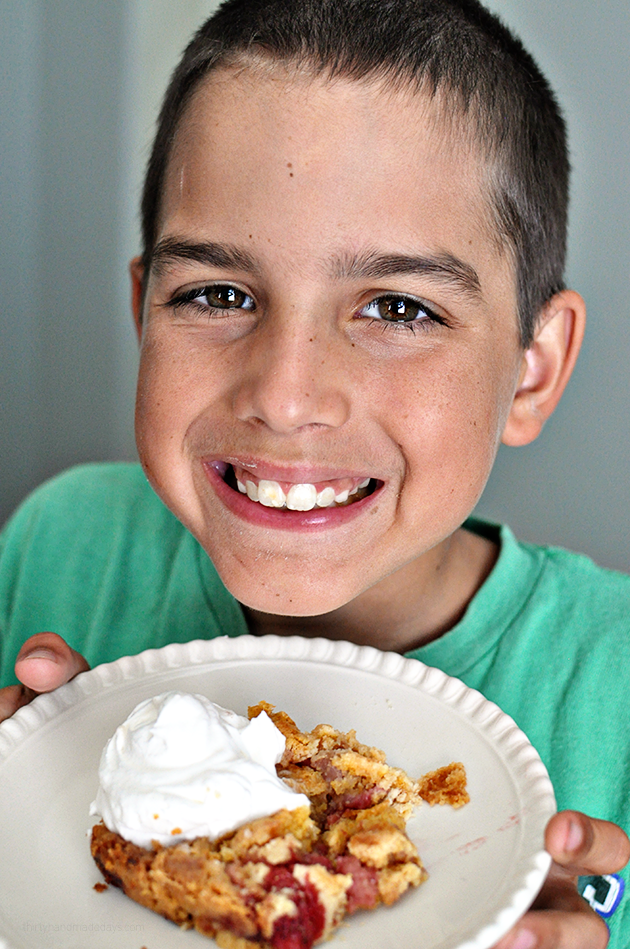 Strawberry Dump Cake - Kids can cook! Teach your kids to make basic recipes.