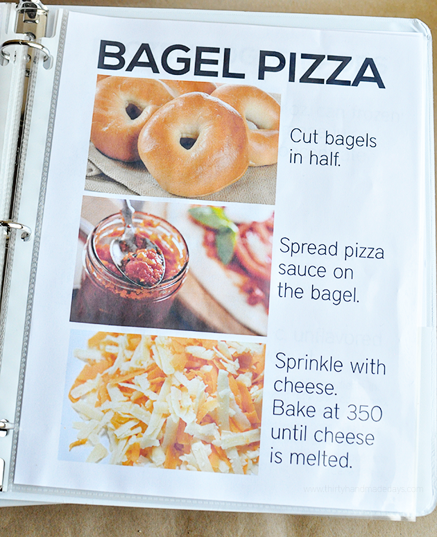 Bagel Pizza Recipe - part of the kids recipe book from thirtyhandmadedays.com