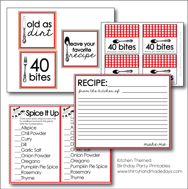 Super fun Kitchen Themed Birthday Party Printables | Thirty Handmade Days