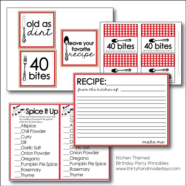 Super fun Kitchen Themed Birthday Party Printables   Thirty Handmade Days