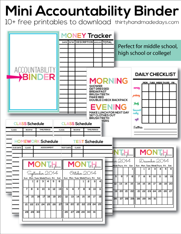 graphic regarding Free Organization Printables for College Students referred to as Mini Duty Binder
